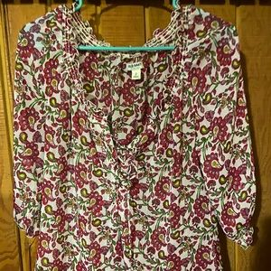 Old navy lace up floral blouse